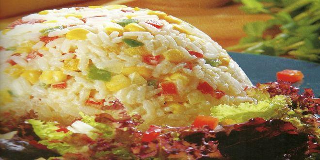 Torres de arroz y pimientos