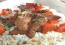 Salteado de Carne con Tomates Cherry