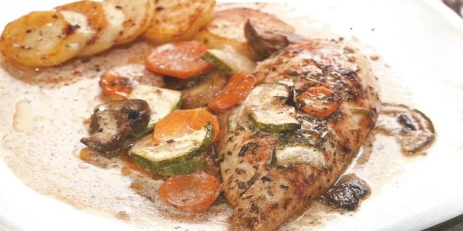Pechugas de pollo en salsa de verduras